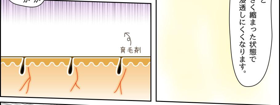 そうすると、毛穴も小さく縮まった状態で育毛剤も浸透しにくくなります。